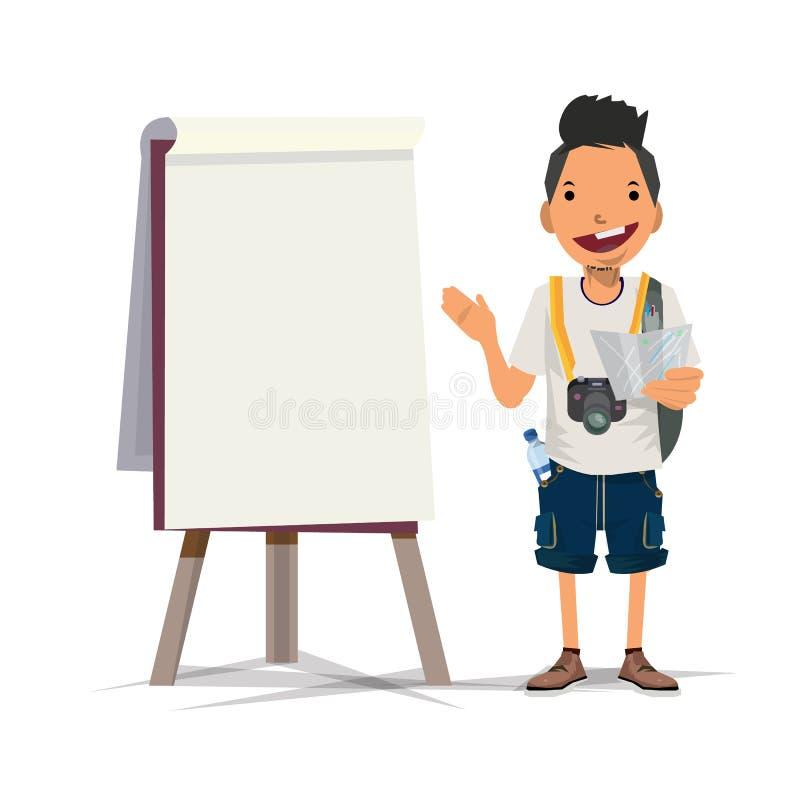 Homem do turista com apresentação da placa - ilustração stock