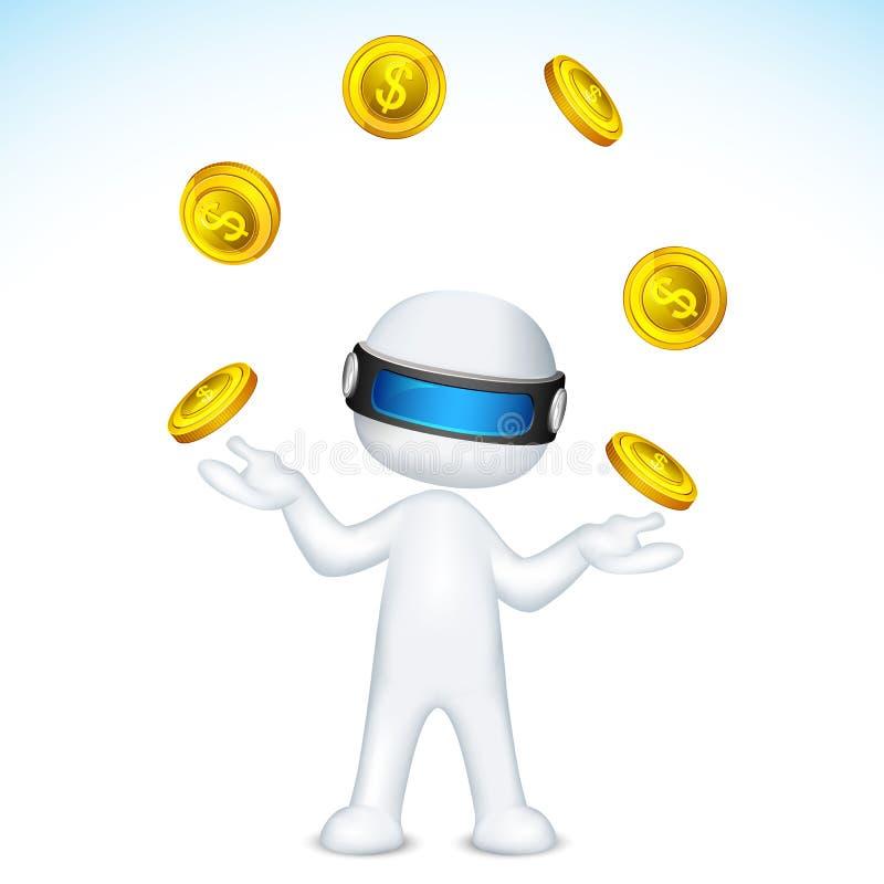 Homem do vetor 3d que manipula com moeda de ouro ilustração do vetor