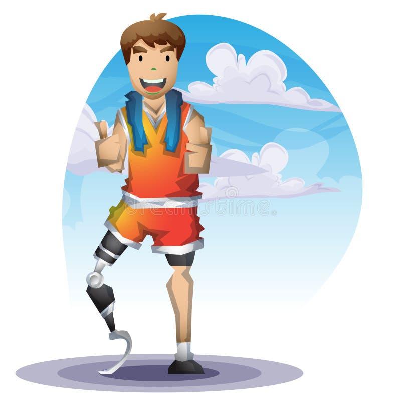 Homem do vetor dos desenhos animados com pé das prótese com camadas separadas para o jogo e a animação ilustração stock