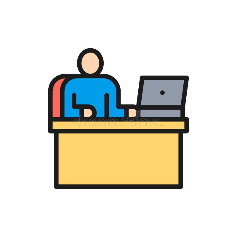 Homem do vetor no local de trabalho, escritório que trabalha, linha de cor lisa ícone do chefe ilustração stock