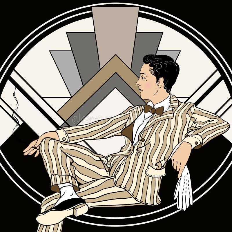 Homem do vintage: Projeto retro do convite do partido os anos 20 Ilustração do vetor ilustração royalty free