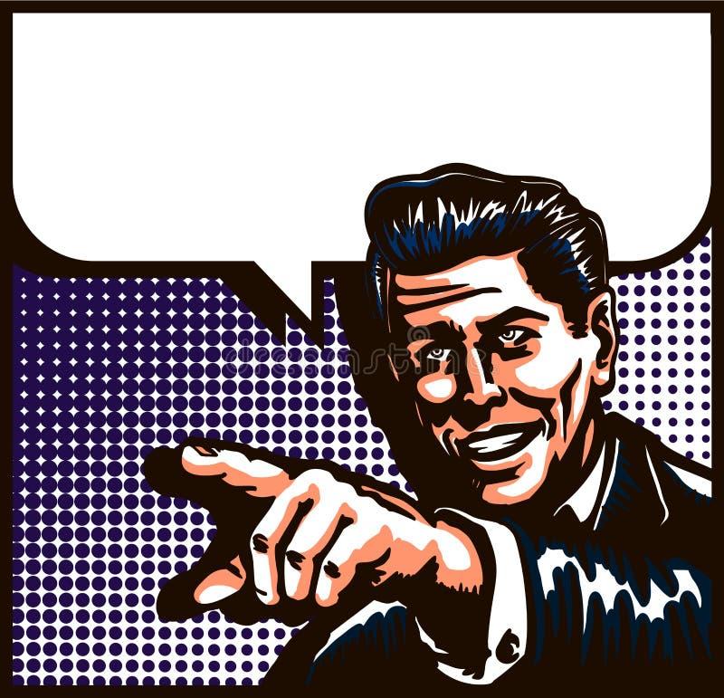 Homem do vintage que fala com apontar a ilustração do pop art do estilo da banda desenhada do dedo ilustração royalty free