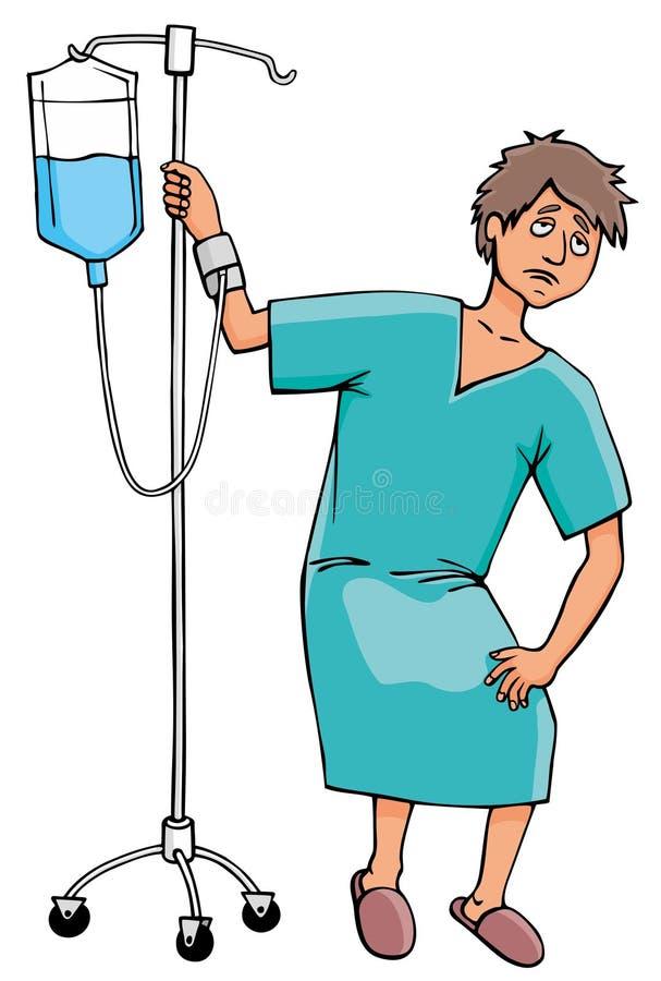Homem doente com gotejamento ilustração do vetor
