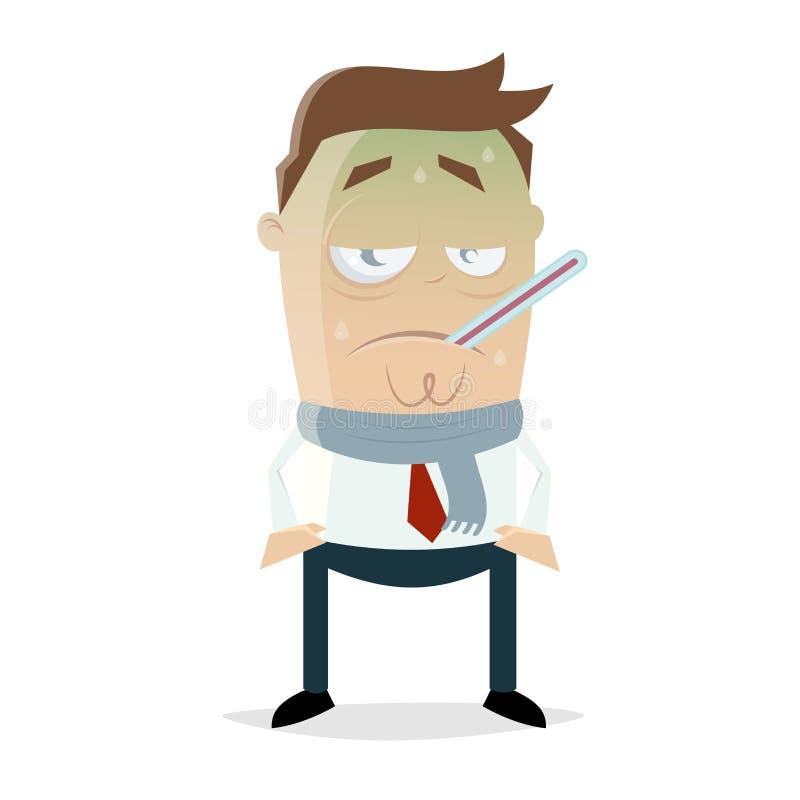 Homem doente dos desenhos animados com gripe ilustração royalty free