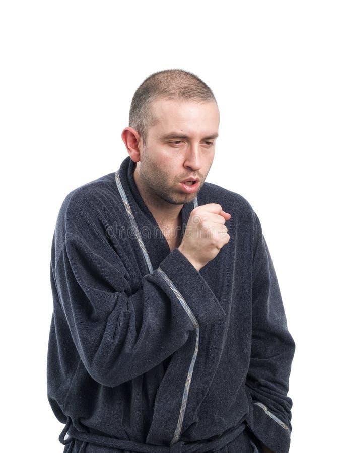 Homem doente que tosse no fundo branco imagens de stock royalty free
