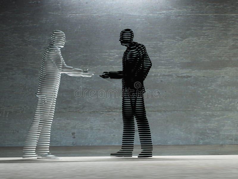 Homem dois aproximadamente para agitar o trabalho de arte das mãos ilustração stock