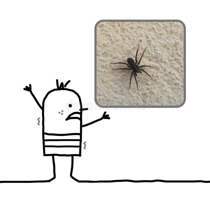 Homem dos desenhos animados amedrontado com uma aranha ilustração royalty free