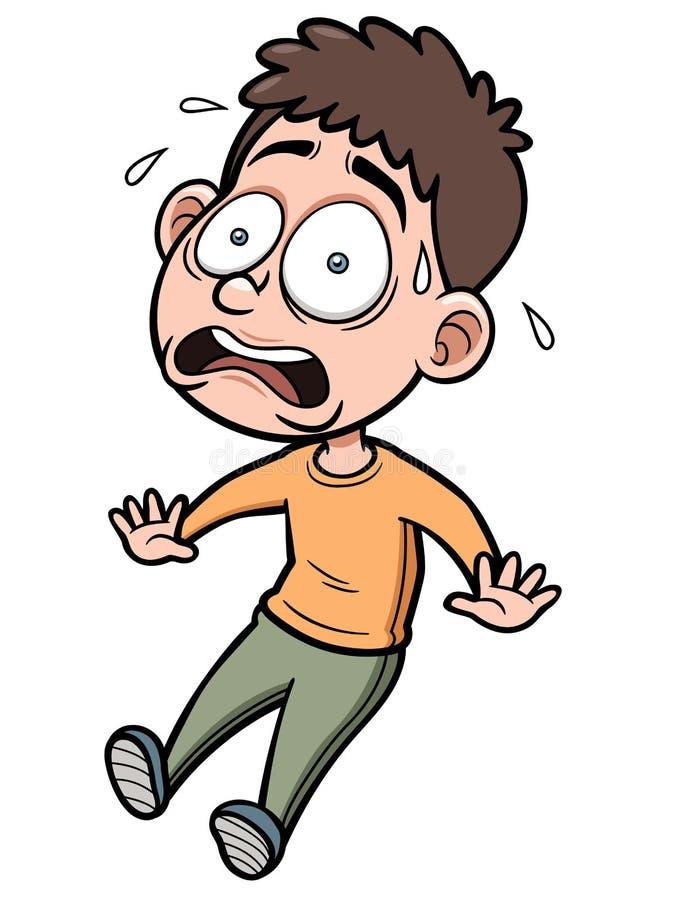 Homem dos desenhos animados assustado ilustração stock