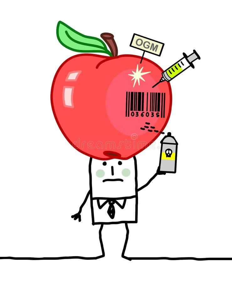 Homem dos desenhos animados com Apple industrial grande ilustração royalty free