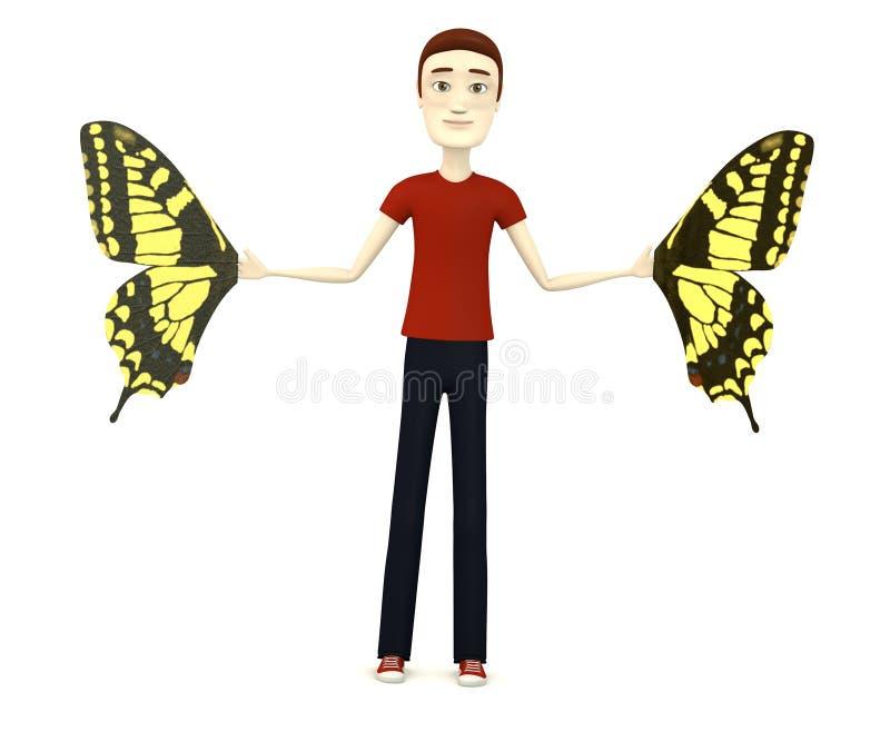 Homem dos desenhos animados com asas da borboleta ilustração do vetor