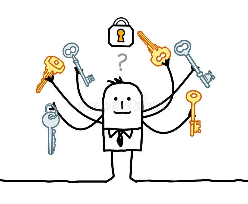 Homem dos desenhos animados com multi chaves e solução ilustração stock