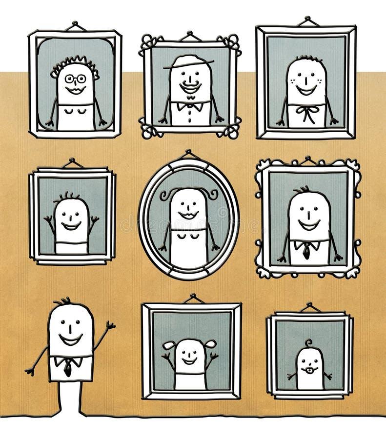Homem dos desenhos animados com os retratos da família na parede ilustração do vetor