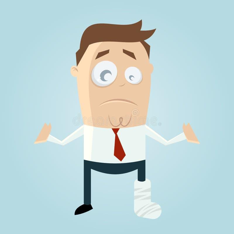 Homem dos desenhos animados com pé no emplastro ilustração royalty free