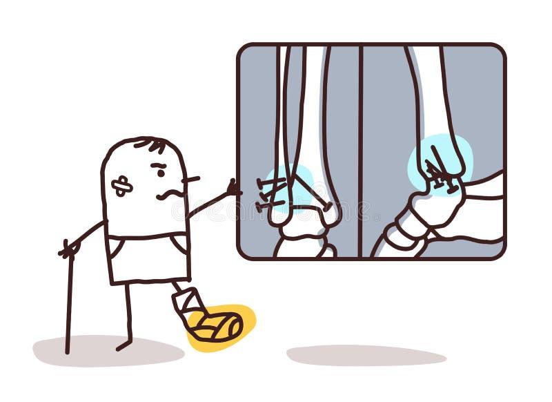Homem dos desenhos animados com tornozelo quebrado e radiologia ilustração do vetor