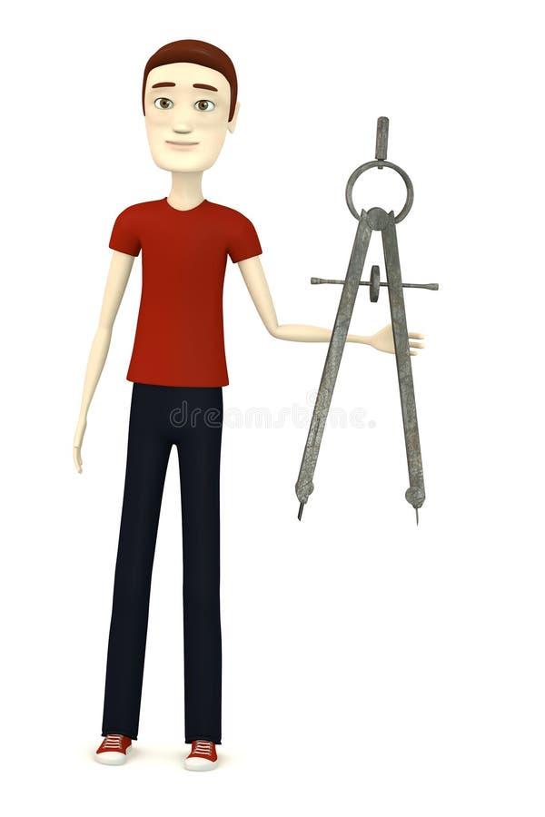 Homem dos desenhos animados com trammel ilustração royalty free
