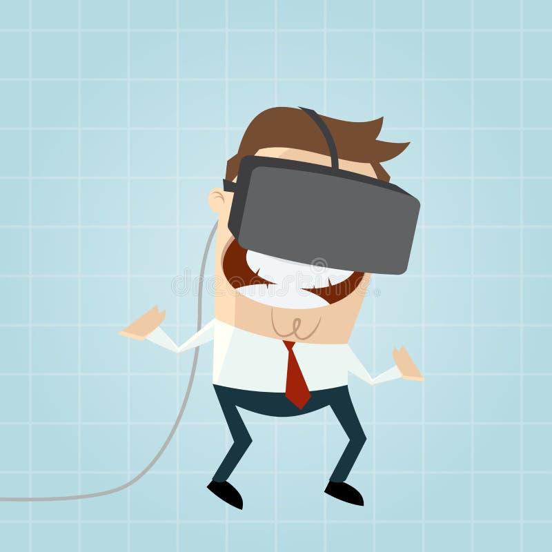 Homem dos desenhos animados com vidros do vr no Cyberspace ilustração do vetor