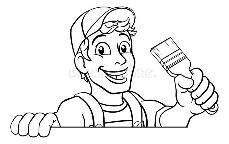 Homem dos desenhos animados de Decorator Paintbrush Handyman do pintor ilustração royalty free