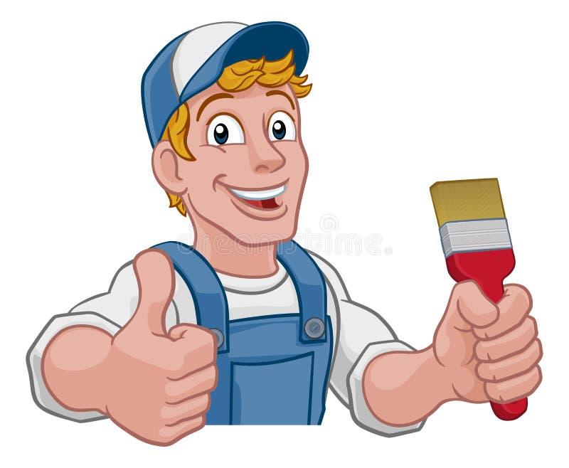 Homem dos desenhos animados de Decorator Paintbrush Handyman do pintor ilustração stock