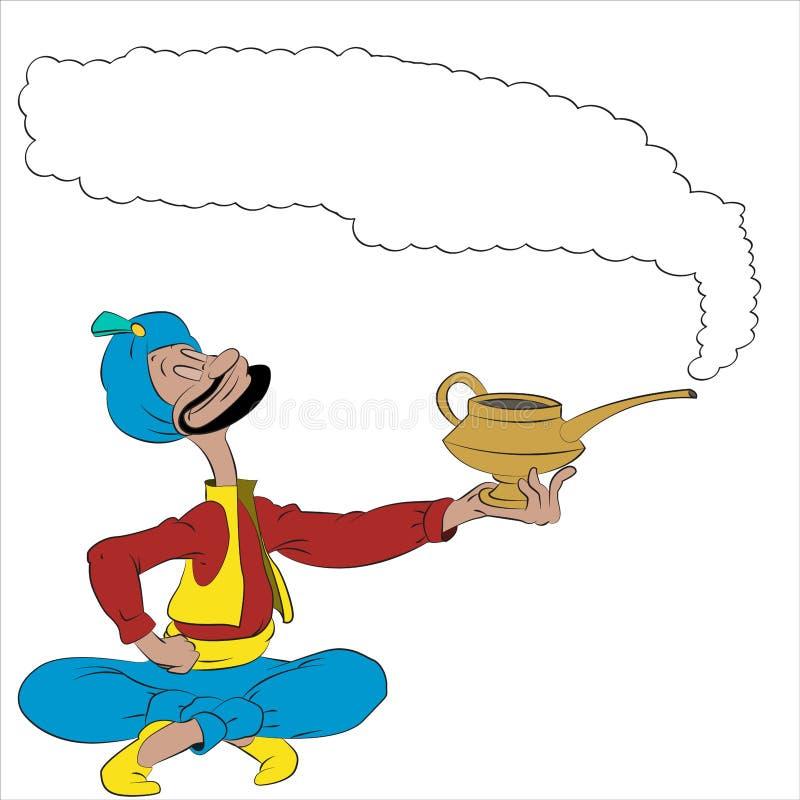 Homem dos desenhos animados do vetor com uma lâmpada mágica ilustração royalty free