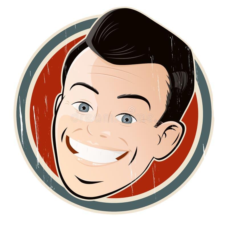 Homem dos desenhos animados do vintage em um emblema ilustração do vetor
