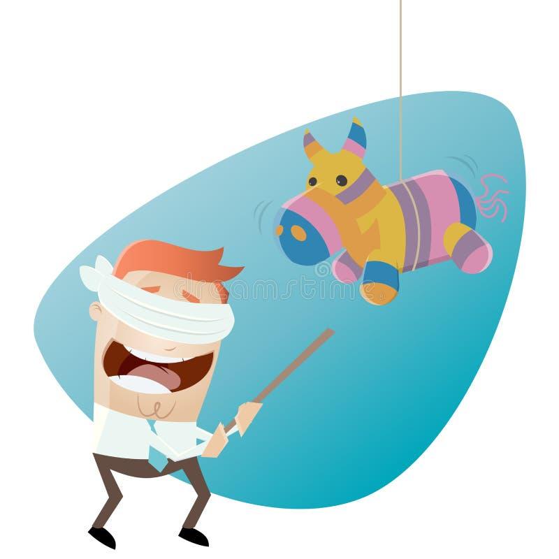 Homem dos desenhos animados e cavalo engraçados do pinata ilustração royalty free