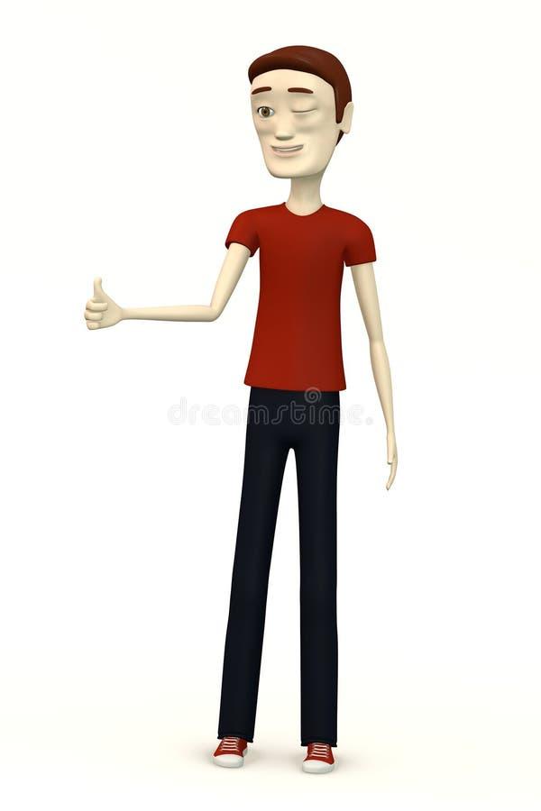 Homem dos desenhos animados no polegar da roupa ocasional acima ilustração do vetor