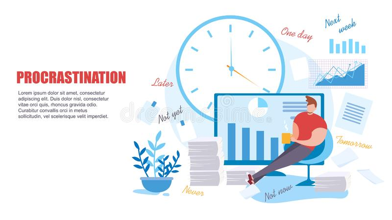 Homem dos desenhos animados para procrastinar na baixa produtividade do trabalho ilustração royalty free
