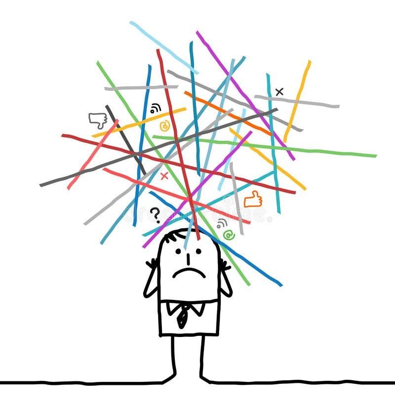 Homem dos desenhos animados perdido no redes sobrecarregadas ilustração do vetor