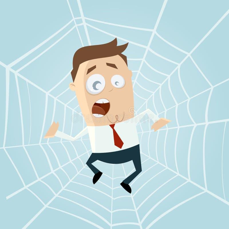 Homem dos desenhos animados prendido no spiderweb ilustração stock