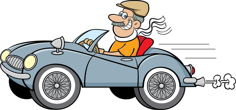 Homem dos desenhos animados que conduz um carro de esportes