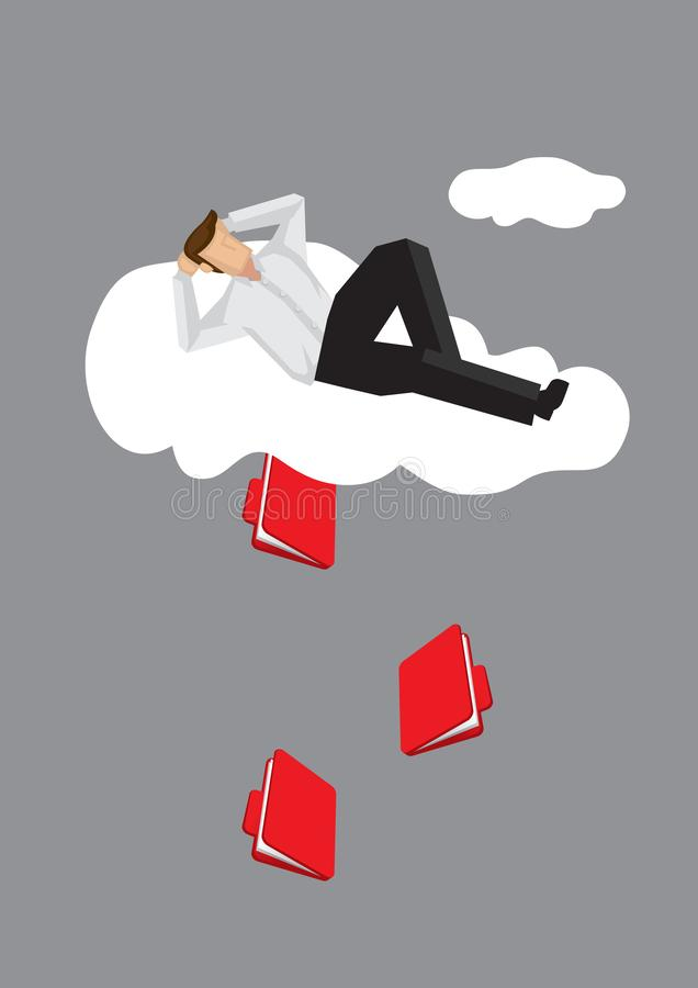 Homem dos desenhos animados que encontra-se na nuvem com o arquivo de documento que escapa para fora a ilustração do vetor ilustração stock