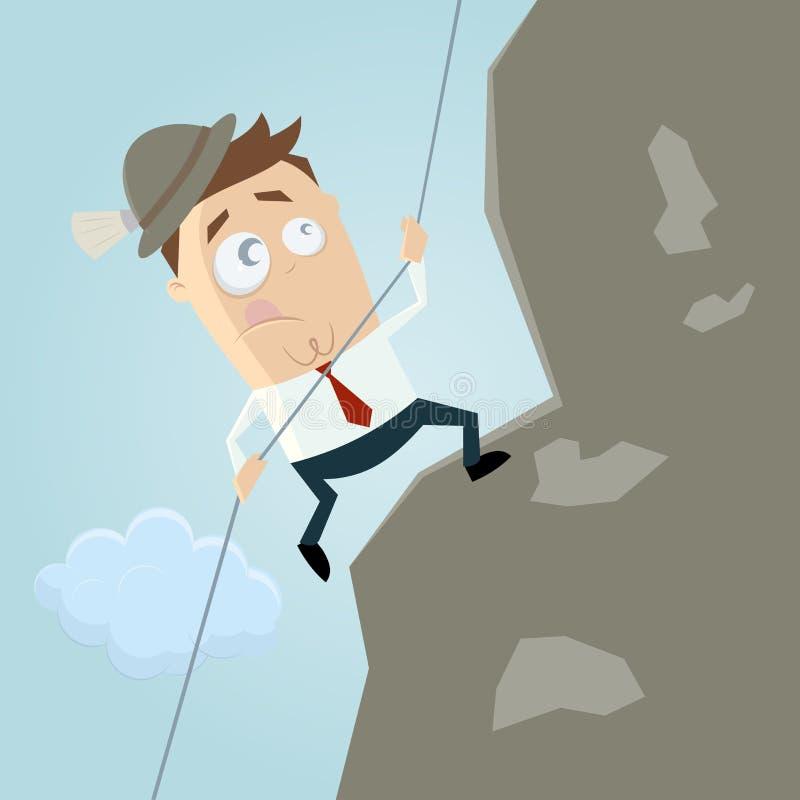 Homem dos desenhos animados que escala uma montanha ilustração do vetor