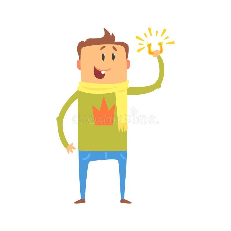 Homem dos desenhos animados que está e que guarda o horeshoe Ilustração colorida do vetor do caráter ilustração do vetor
