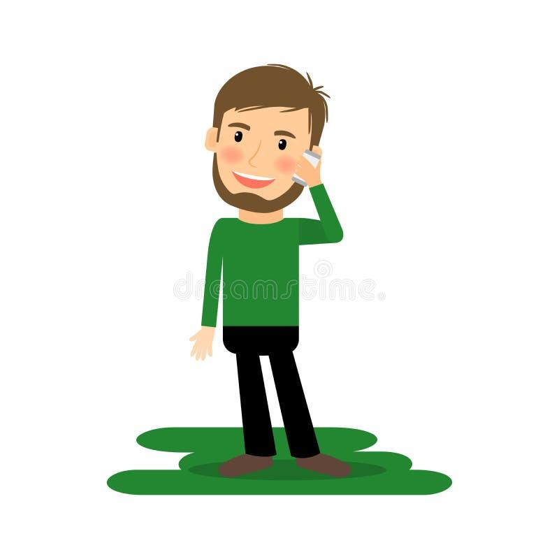 Homem dos desenhos animados que fala no telefone ilustração do vetor