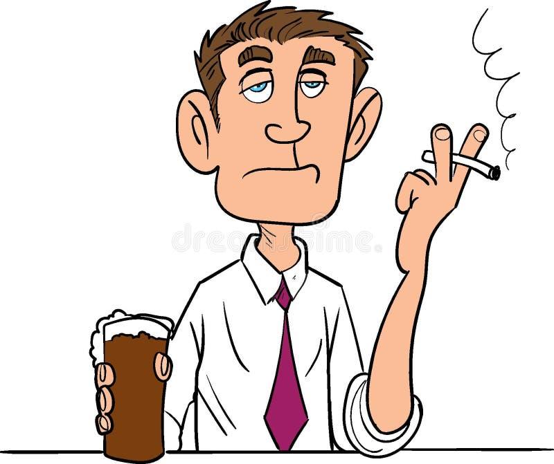 Homem dos desenhos animados que fuma com uma cerveja ilustração do vetor