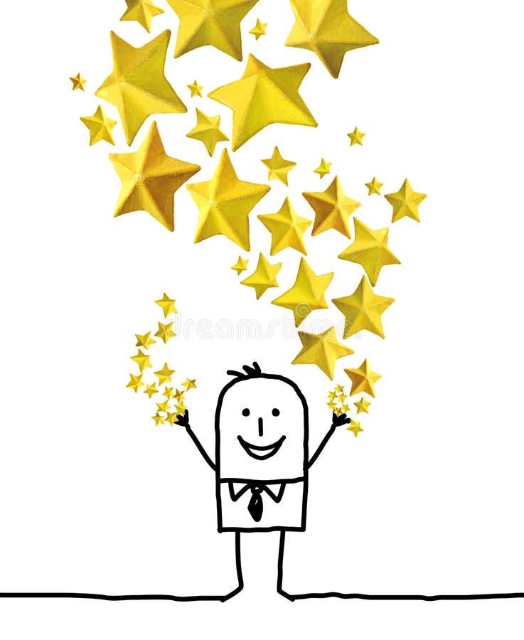 Homem dos desenhos animados que joga acima um grupo amarelo das estrelas ilustração stock