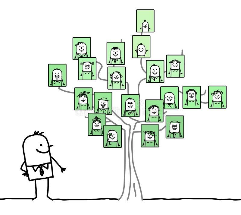 Homem dos desenhos animados que olha uma árvore genealógica ilustração royalty free