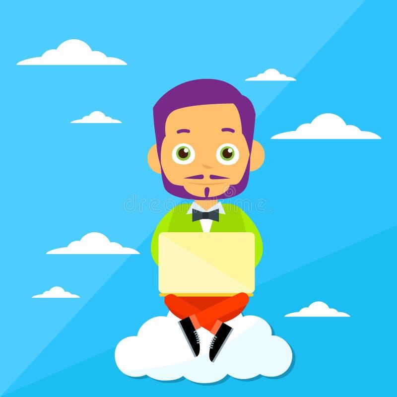 Homem dos desenhos animados que senta-se no laptop do uso das nuvens ilustração stock