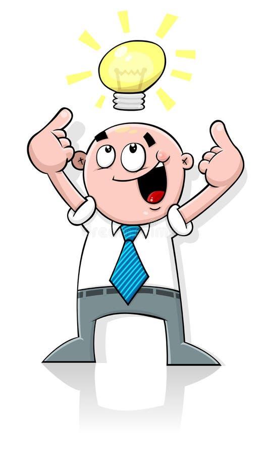 Homem dos desenhos animados que tem a idéia ilustração do vetor