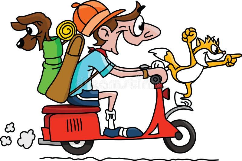 Homem dos desenhos animados que viaja em uma motocicleta com seu vetor do cão e gato ilustração royalty free