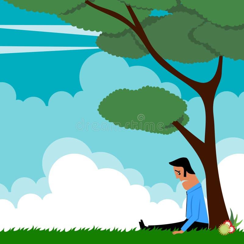 Homem dos desenhos animados sentado sob a árvore ilustração stock