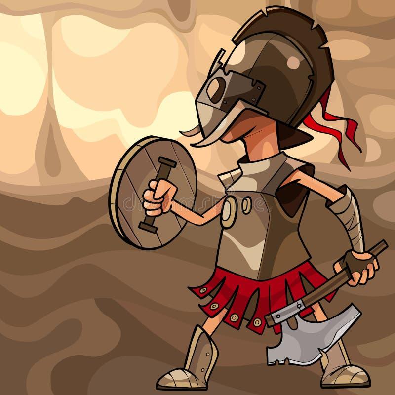 Homem dos desenhos animados vestido como um guerreiro medieval com um machado e um protetor ilustração stock