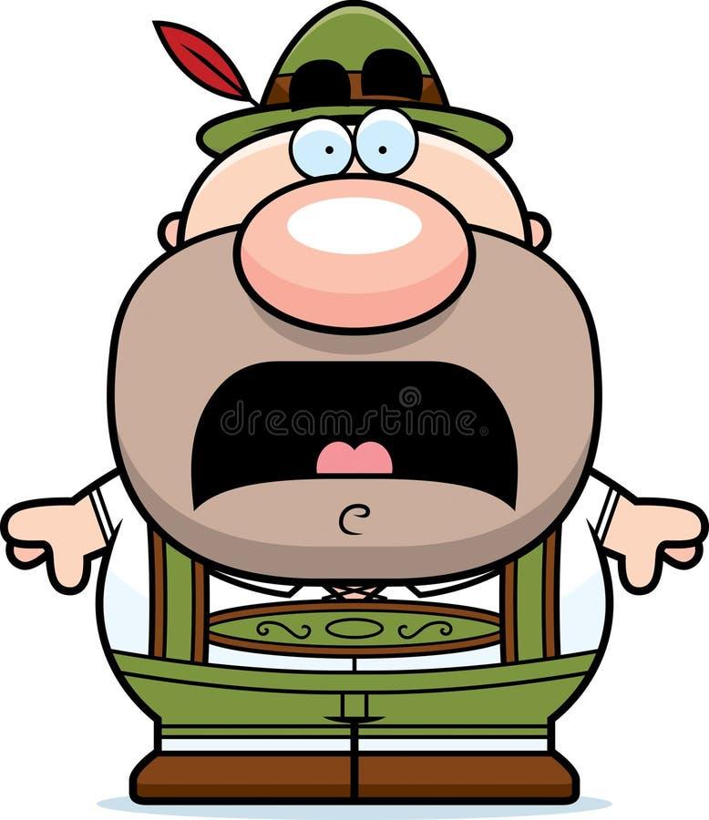 Homem dos Lederhosen dos desenhos animados assustado ilustração stock