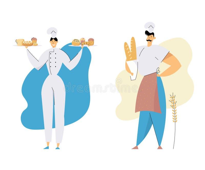 Homem dos padeiros e caráteres fêmeas que vestem o Toque principal e bandejas guardando uniformes com pastelaria e produção cozid ilustração stock