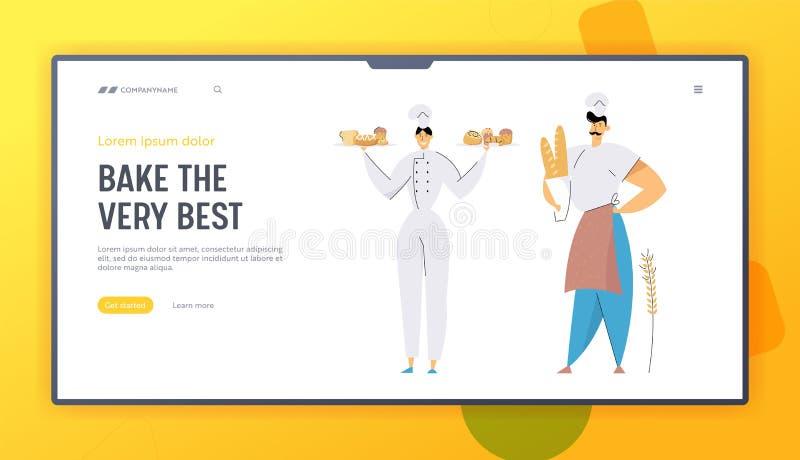 Homem dos padeiros e caráteres fêmeas que vestem o Toque principal e bandejas guardando uniformes com pastelaria e produção cozid ilustração royalty free
