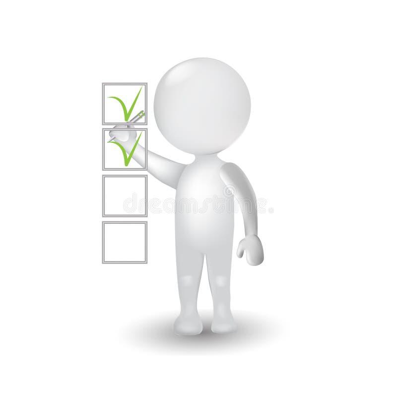 homem dos povos 3d brancos com logotipo do vetor do ícone da lista de verificação ilustração stock