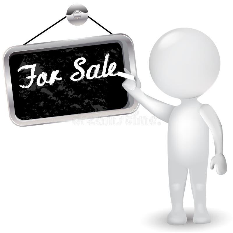 homem dos povos 3d brancos com sinal para a venda Logotipo do ícone do conceito do negócio ilustração do vetor