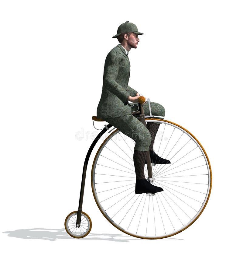 homem dos 1880's que monta uma bicicleta do Moeda de um centavo-farthing ilustração stock