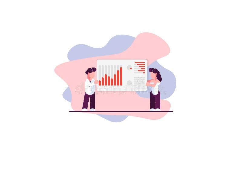 Homem e analistas fêmeas do negócio Comércio da finança carta Ilustração moderna do vetor - O arquivo do vetor ilustração do vetor