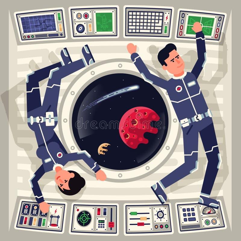 Homem e astronautas fêmeas na gravidade zero em uma nave espacial ilustração royalty free